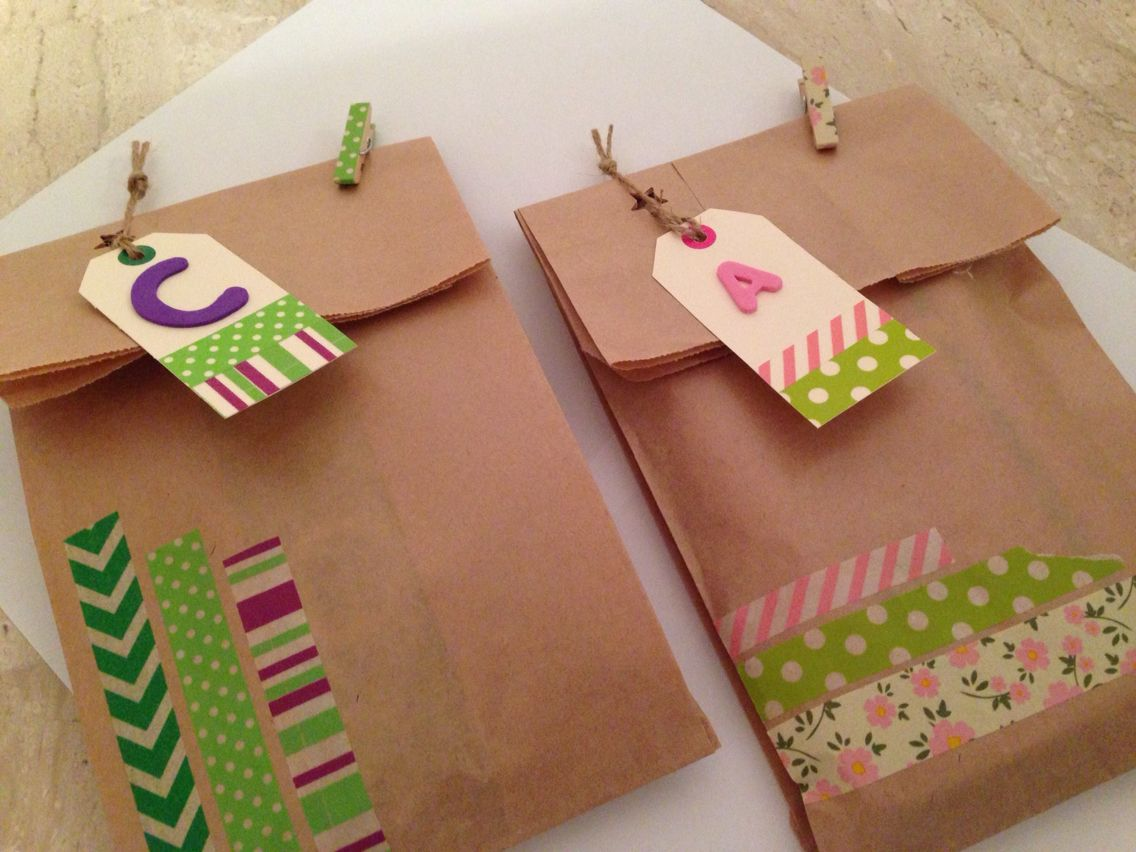 Bolsas Kraft Decoradas Con Washi Tape Y Foam Manualidades