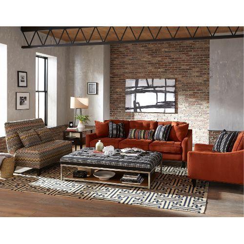 Mid Century Modern Rust Burnt Orange Sofa Palmer In 2020 Brick Living Room Velvet Sofa Living Room Orange Sofa