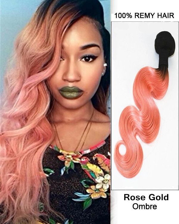 Feshfen 20 Black Rose Gold Ombre Hair Weave Two Tones Body Wave