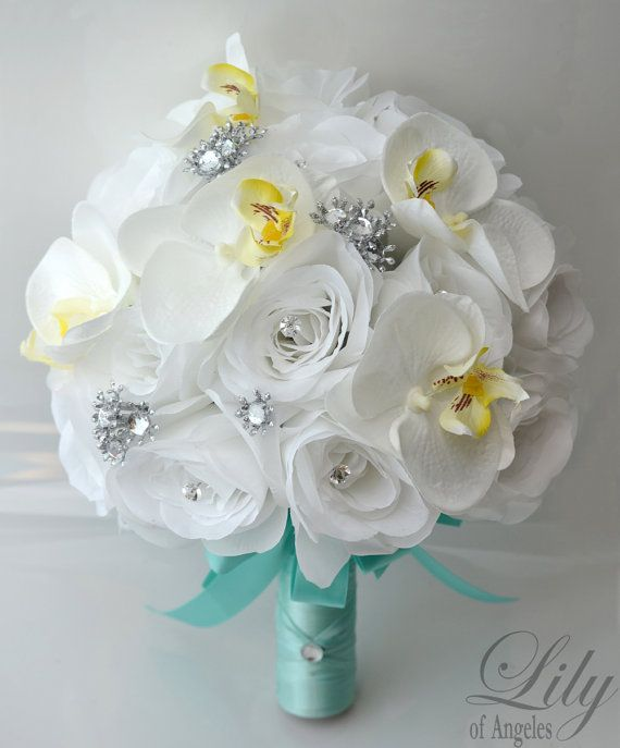 "17 Piece Package Wedding Bridal Bride Maid Of Honor Bridesmaid Bouquet Boutonniere Corsage Silk Flower WHITE TIFFANY BLUE ""Lily Of Angeles"""