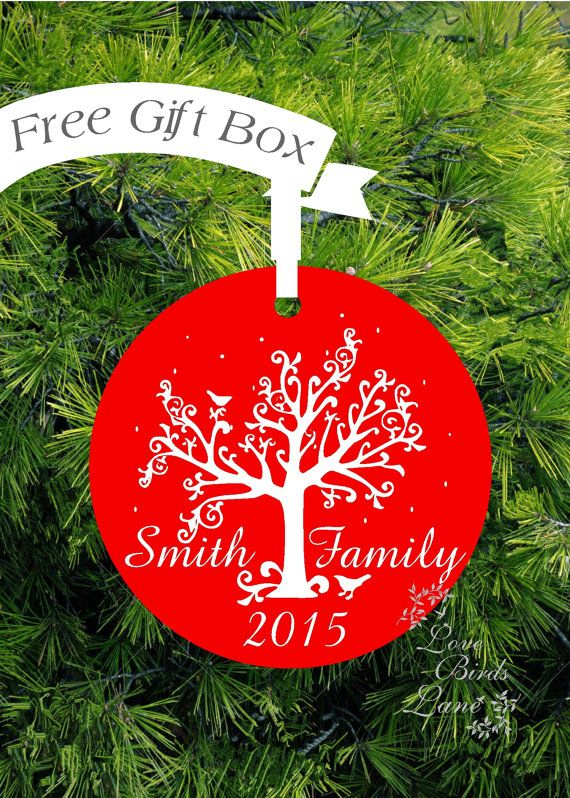 Personalized Family Ornament Family Name Gift by lovebirdslane