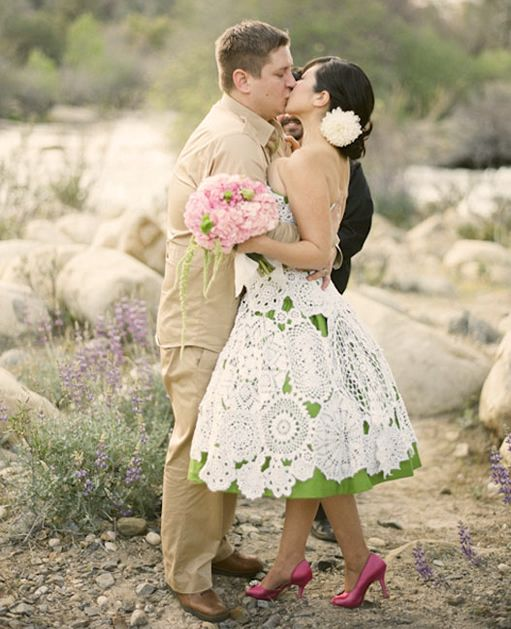 Diy Wedding Gowns: Vintage Retro Wedding Dress From Repurposed Crochet