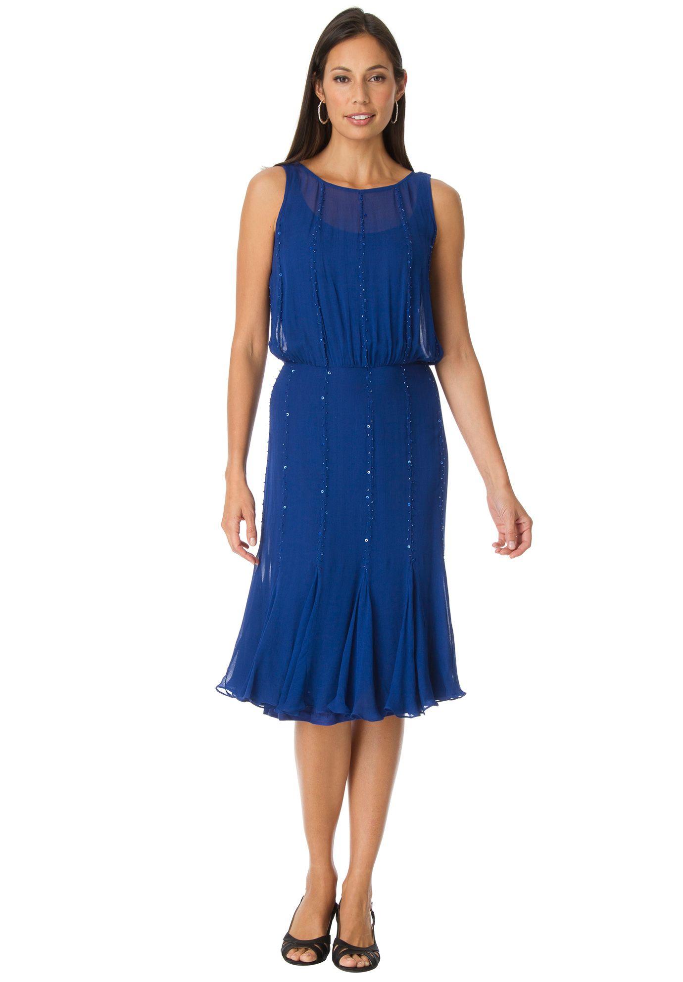 Beautifully beaded blouson dress with round neckline.