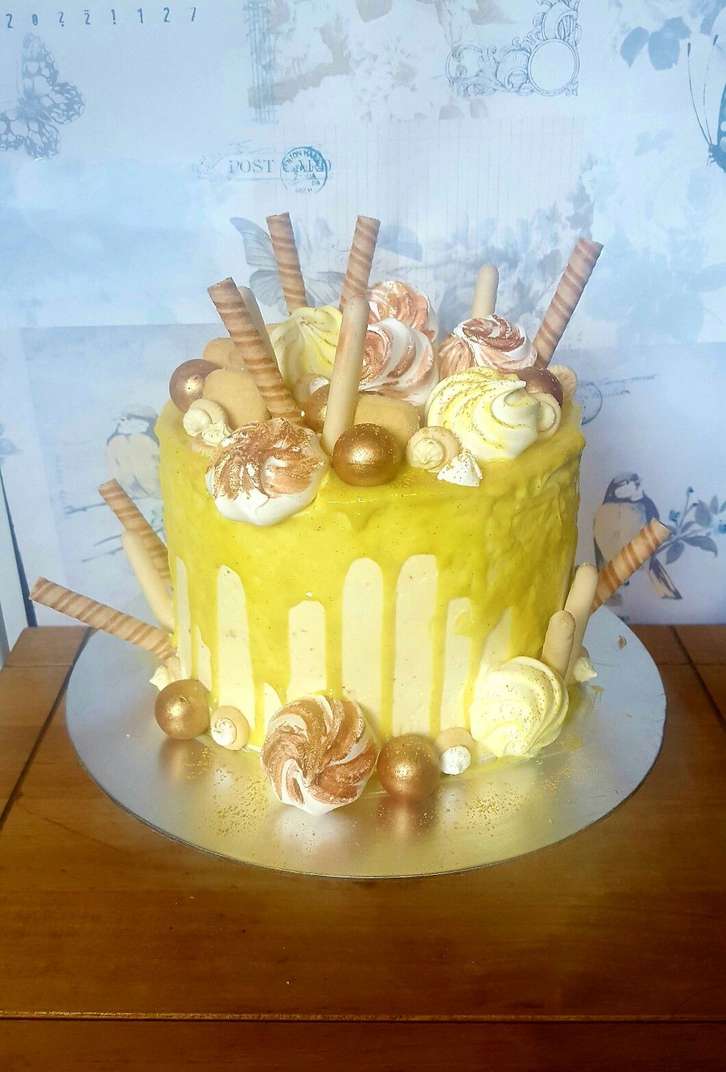 Yellow Drip Cake Lemon Drizzle Cake With Swiss Meringue