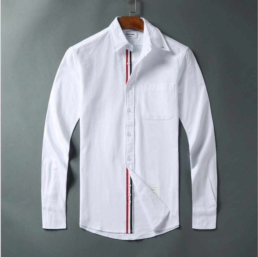 NWT Thom-Browne Oxford Grosgrain Placket Cotton Shirt Simple Long Sleeve Shirts