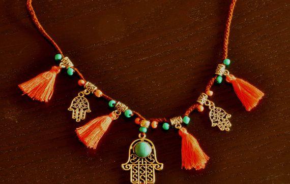 HAMSA NECKLACE TASSEL necklace hippie necklace tassel by CoolKit