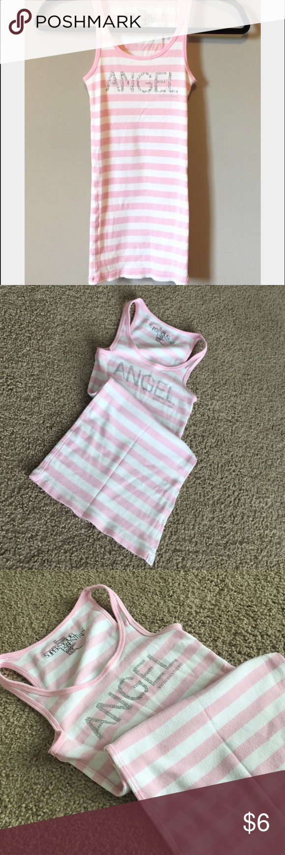 """VS lounge tank! Supermodel Essentials """"Angel"""" lounge tank. Light pink and white striped. Adorable, and very soft. Great condition. Victoria's Secret Tops Tank Tops"""