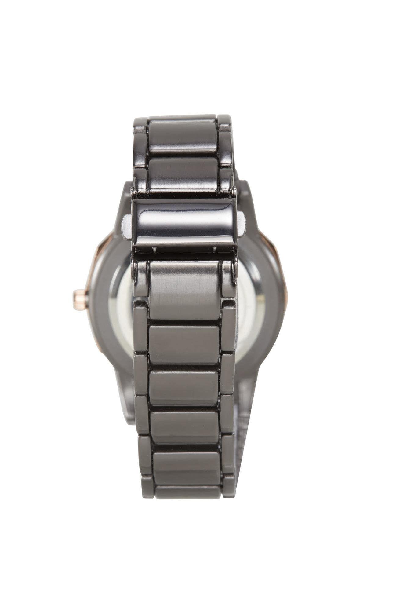 Heine Armbanduhr Damen, Gold / Graphit / Weiß, Größe One Size