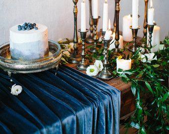 Velvet Table Runner Wedding Winter Wedding Table Indigo Wedding