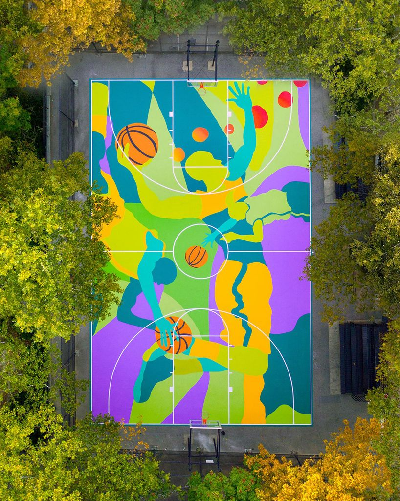 MADSTEEZ transforms harlem basketball court into vibrant street art mural