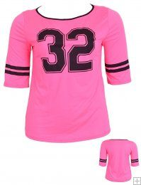 '32' SPORTY CHIC BLACK AND PINK VARSITY TOP  WHOLESALE PLUS SIZE TOPS  2009PK-18 UNIT PRICE$8.75 1-1-1PACKAGE3PCS