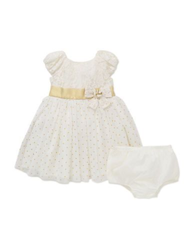 Little Me Baby Girls  Two-Piece Lace Overlay Dress and Bloomers Set  I