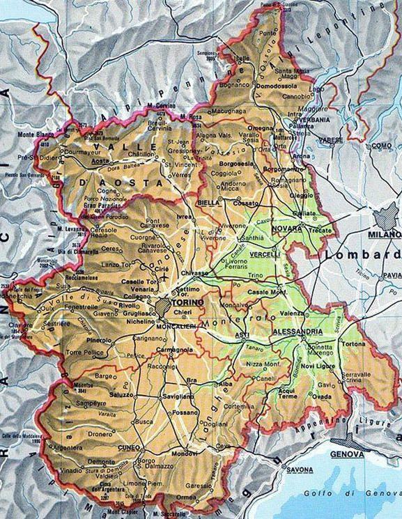 Cartina Fisica E Politica Del Piemonte.Mappa Del Piemonte Cartina Del Piemonte Geografia