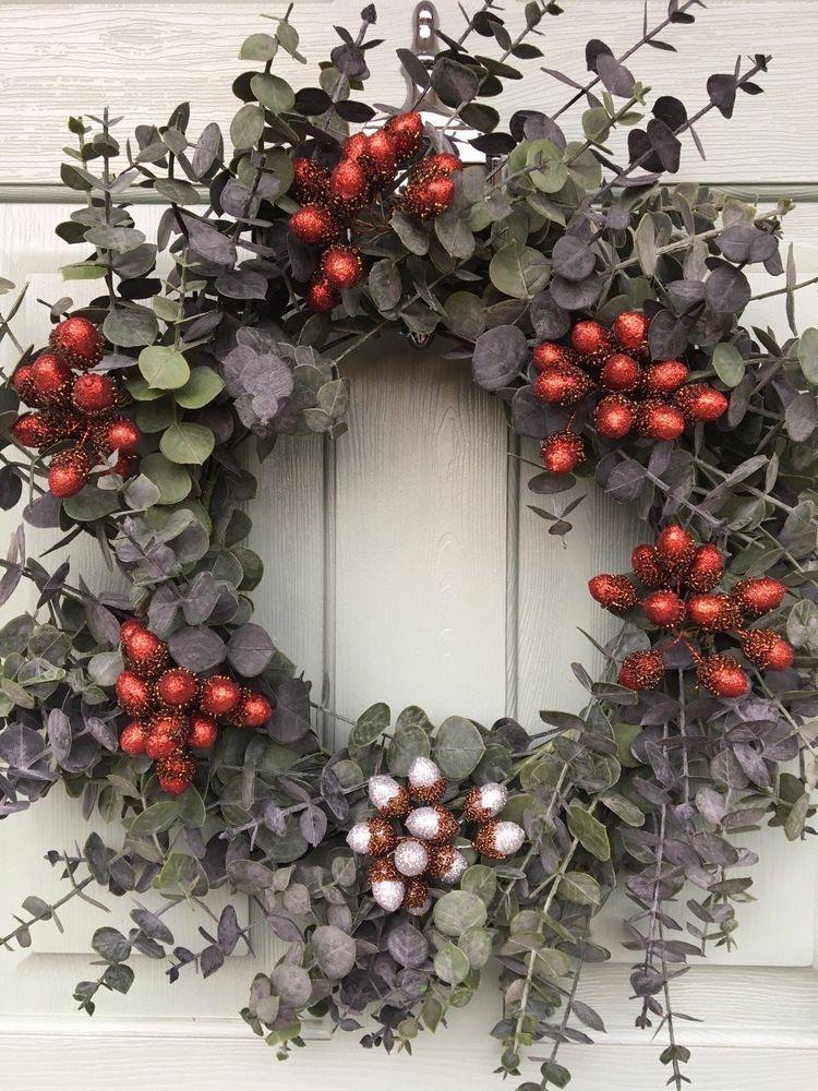 Large Eucalyptus Xmas Door Wreath Gisela Graham Berries Choice Of Colours