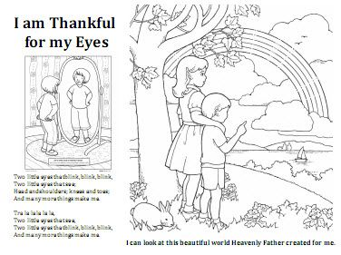 19 I am thankful for my eyes coloring sheet LDS Sunbeam