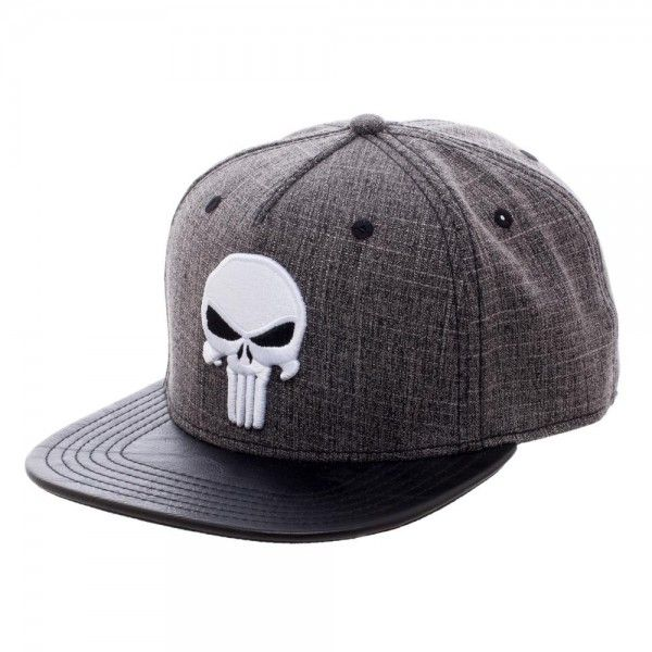 Marvel Punisher Heather Grey Faux Leather Bill Snapback Marvel Hats Punisher Marvel Snapback