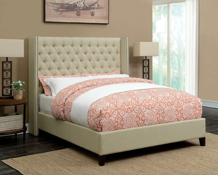 Benicia 300706KW California King Upholstered Beige Bed Frame ...