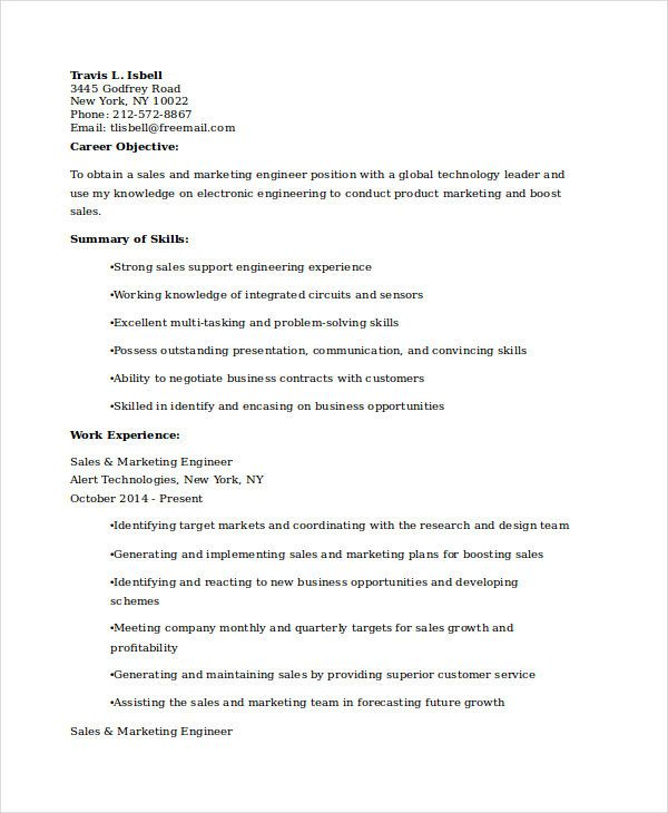 Sales Marketing Engineer Resume , Marketing Resume Samples for - marketing resume