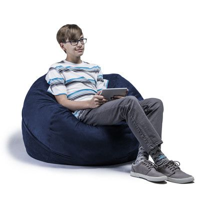 Kids Bean Bag Chair Upholstery Microsuede Navy