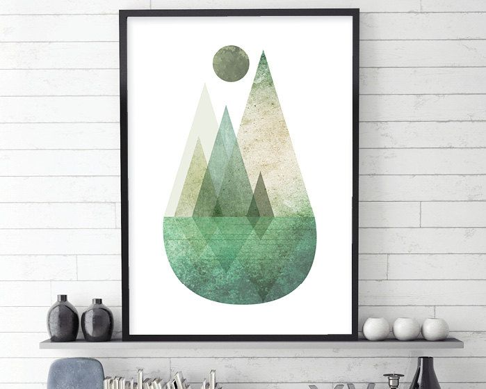 Nordic Mountain Printable Poster Green Scandinavian Mountains Etsy Poster Wall Art Minimalist Poster Art