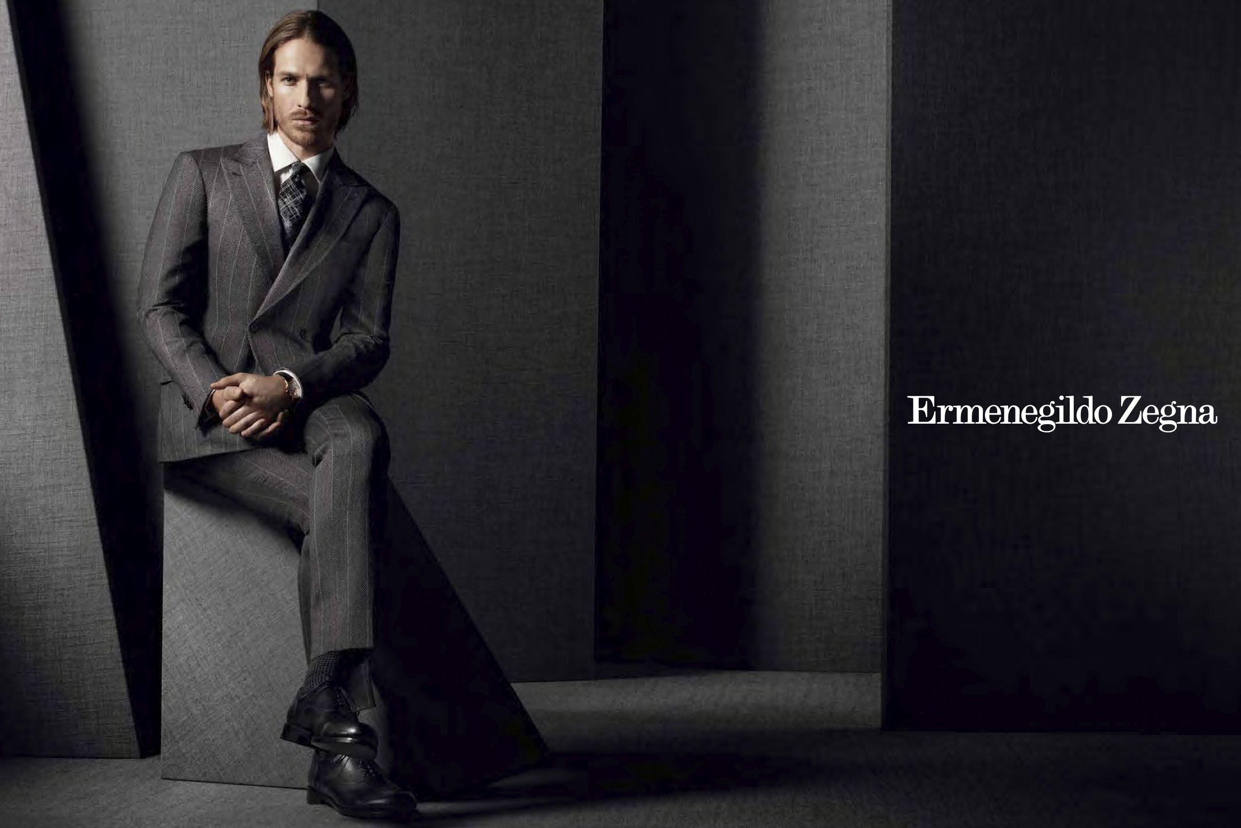 1ee45e69ad0d Ermenegildo Zegna AW13 advertisement featuring american model Ryan Burns  Men s Collection