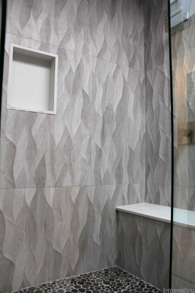 Large Plank Gray Wave Tile Shower Walls Misty Carrara