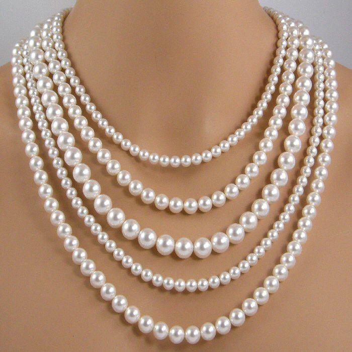 five strand white pearl necklace multi strand pearl