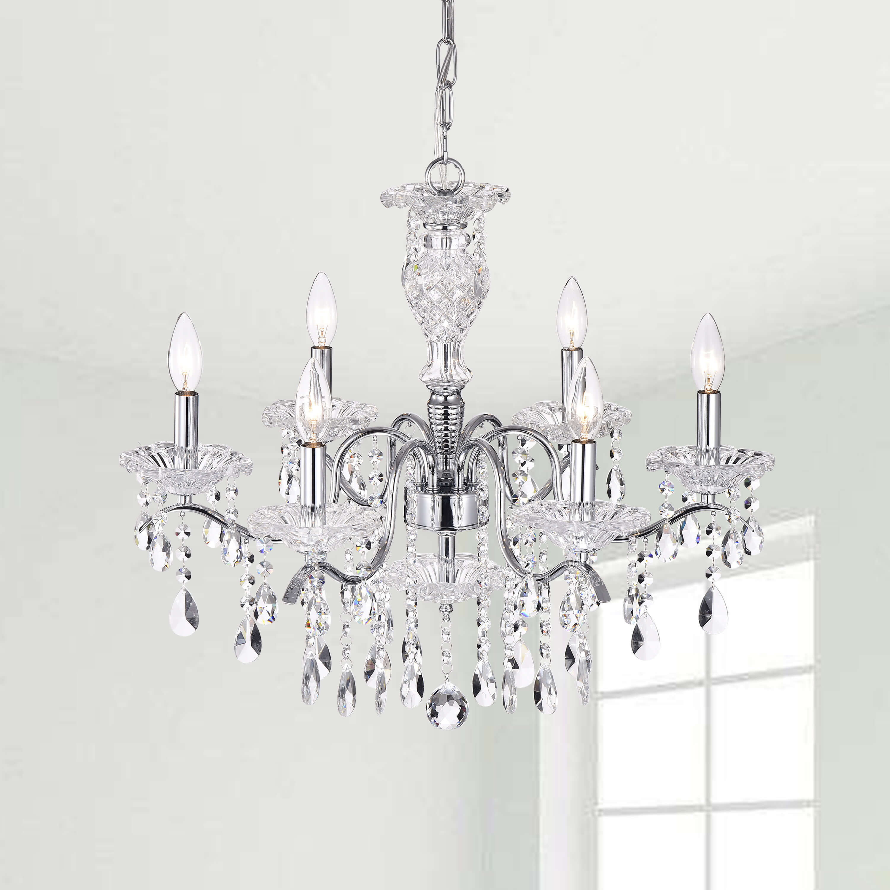 Silver orchid taylor indoor 6 light chrome crystal candle light chandelier