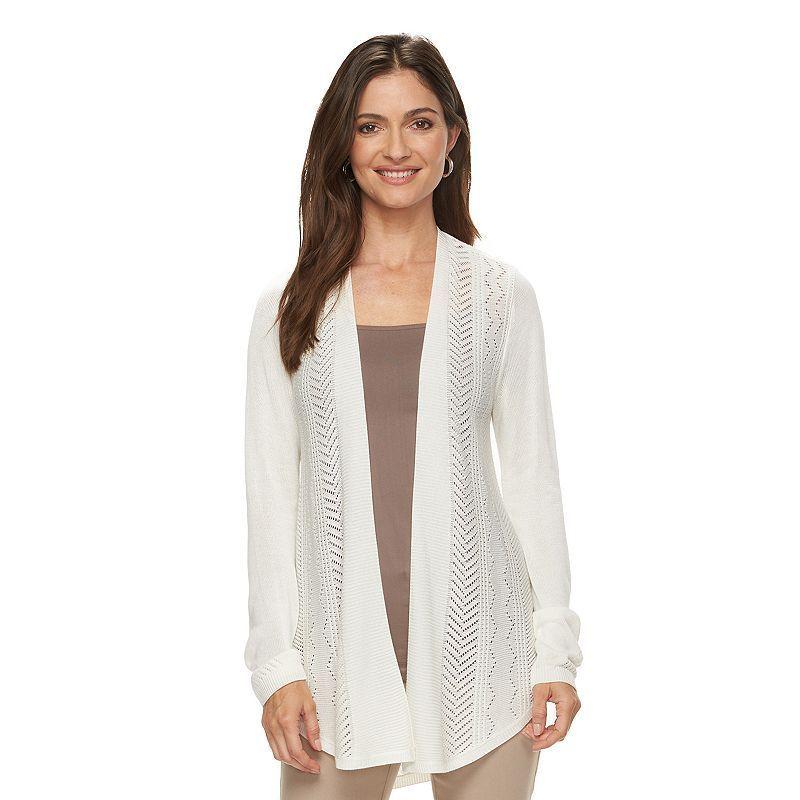 Women's Croft & Barrow® Pointelle Cardigan, Size: Medium, Natural