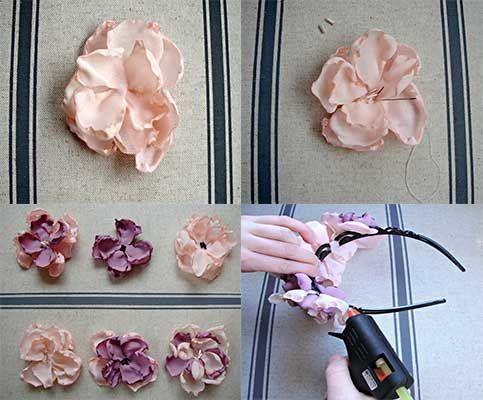 como hacer una diadema con flores de tela - Como Hacer Diademas De Flores