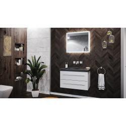 Photo of Badmöbel Granit India Black Damo 75cm ohne Hahnloch weiß hochglanz & Led SpiegelEmotion-24