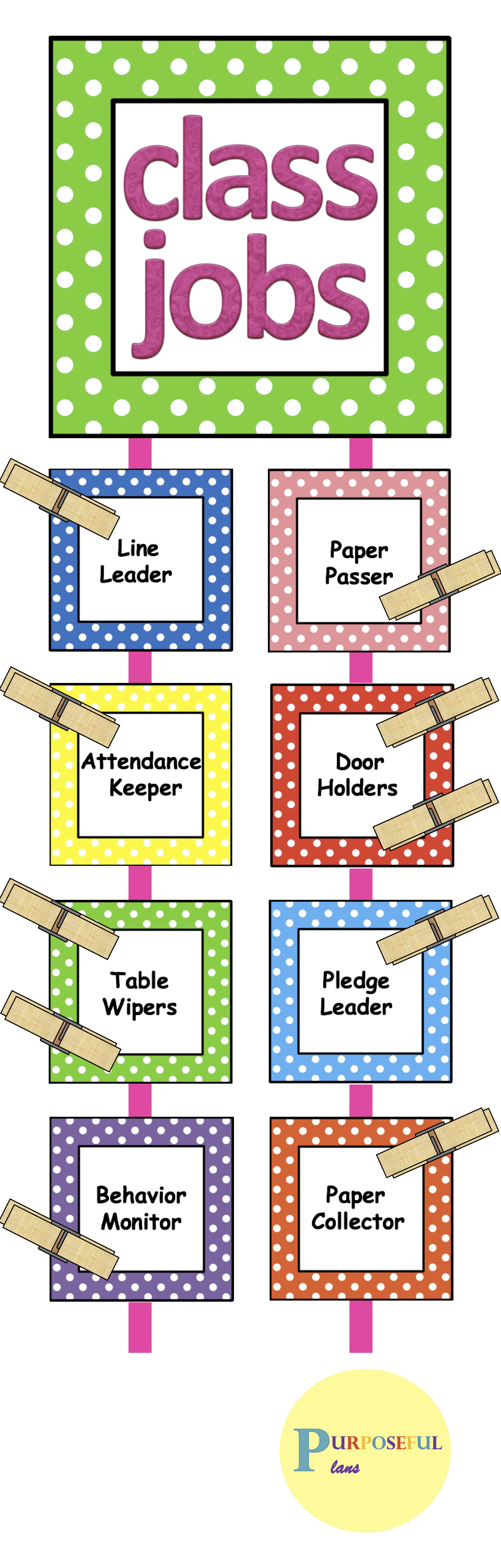 Classroom job chart cards with headers  descriptions editable template also rh pinterest