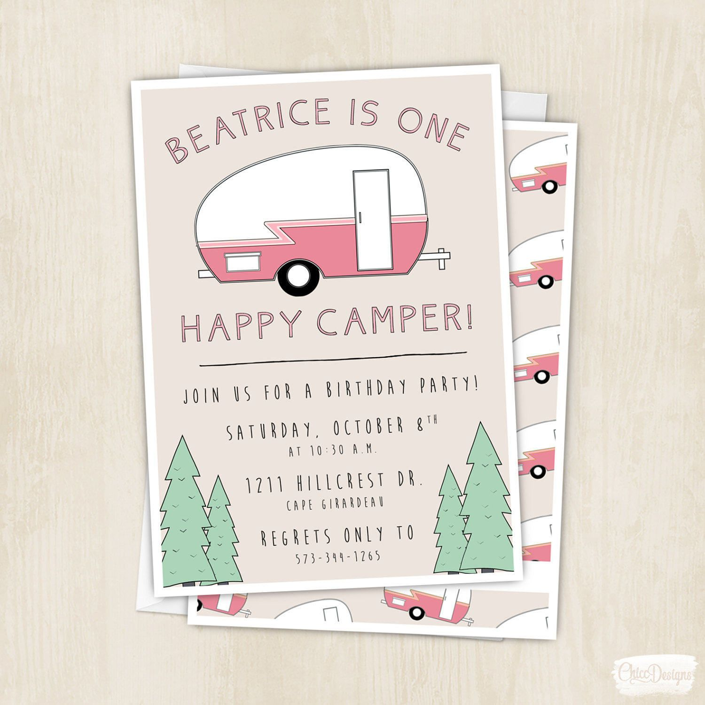 e Happy Camper Birthday Invitation Camping Pink Vintage