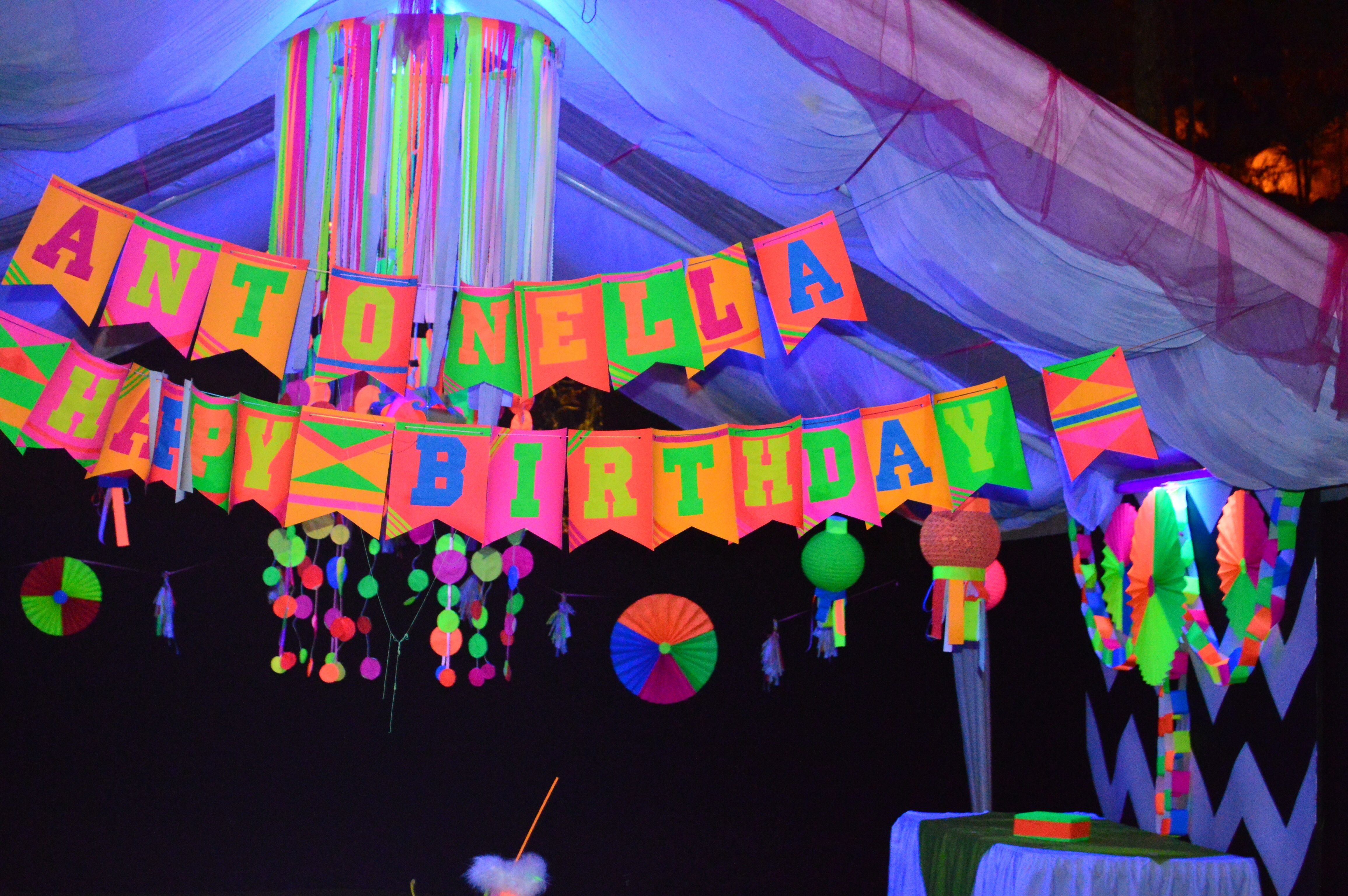 blacklight party banner sweet 16 party ideas for megan
