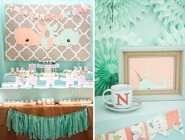 Amazing Peach And Mint Baby Shower For Twins | Baby Baby, Ideias De Painéis E Cha  De Baby