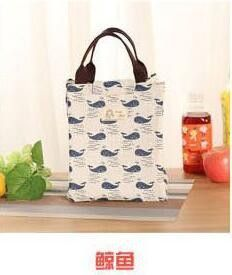 Waterproof Canvas 1PC Portable Tote Lunch Bag Folding Christmas Patterns Lunch Box Bag Thermal Insulation Bag Free Shipping