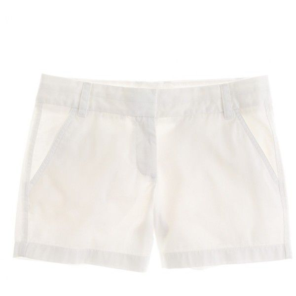 """J.Crew 4"""" Chino Short (€25) ❤ liked on Polyvore featuring shorts, bottoms, white, jcrew, j.crew, long chino shorts, zipper shorts, rainbow shorts, chino shorts and white shorts"""