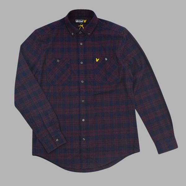 1e93ca4242ee Lyle & Scott present this twill flannel shirt in a check pattern. Button  down collar