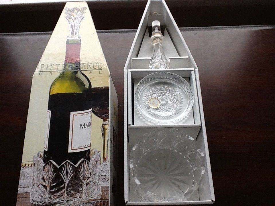 Kitchen, Dining & Bar Home & Garden Fifth Avenue Portico Crystal 6 Piece Wine Accessory Set New In Box