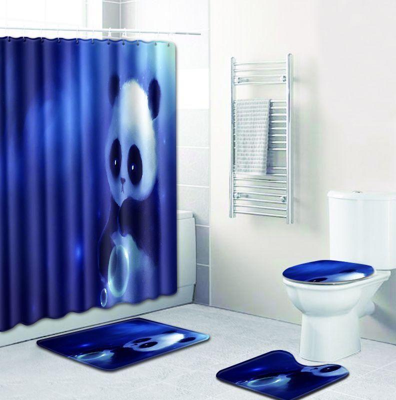 4pcs Lot High Quality Panda Print Shower Curtain Bathroom Set