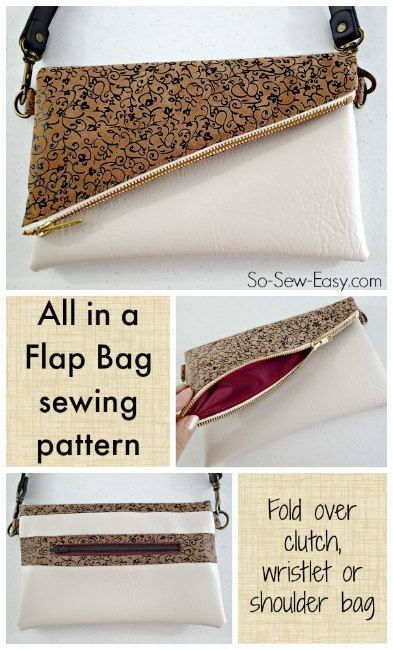 <All in a Flap Bag - fold over bag pattern POTM    All in a Flap fold over clutch bag with options for shoulder or wrist strap. Easy to sew, uses very little fabric, instructions for using vinyl/suede etc too.    #leatherbag #leatherbagdiy #bagpatterns