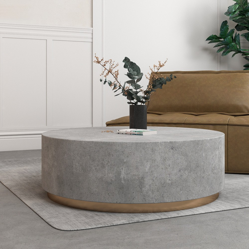 Industrial Coffee Table Round Cement Coffee Table In Light Gray Drum Coffee Table Round Coffee Table Industrial Coffee Table [ 1000 x 1000 Pixel ]