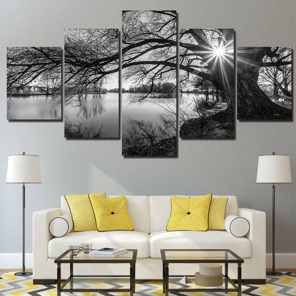 Lakeside View 5 Piece Canvas Art Set In 2020 Kunst Furs Wohnzimmer Diy Wohnzimmer Und Haus Deko