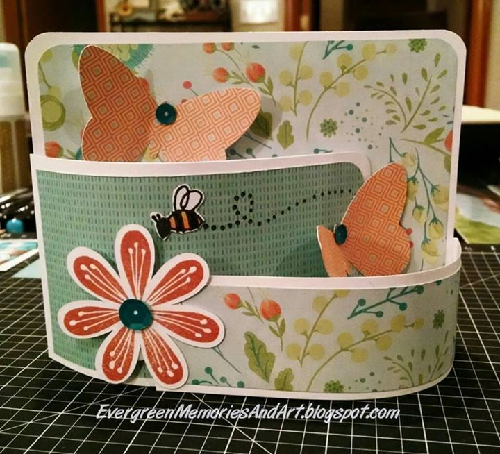 Bendi card is easy to create with stamped images and foam tape instead of tricky craft knife cutting.  MRowley.CTMH.com