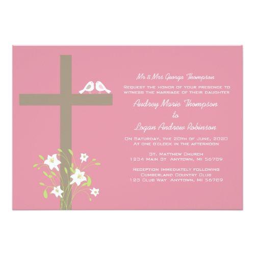 Christian Wedding Invitations Love Birds On A Cross Card Christian Wedding Invitations Wedding Invitations Rsvp Wedding Cards