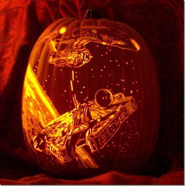 millennium falcon pumpkin carving - Star Wars Halloween Pumpkin Carving Patterns