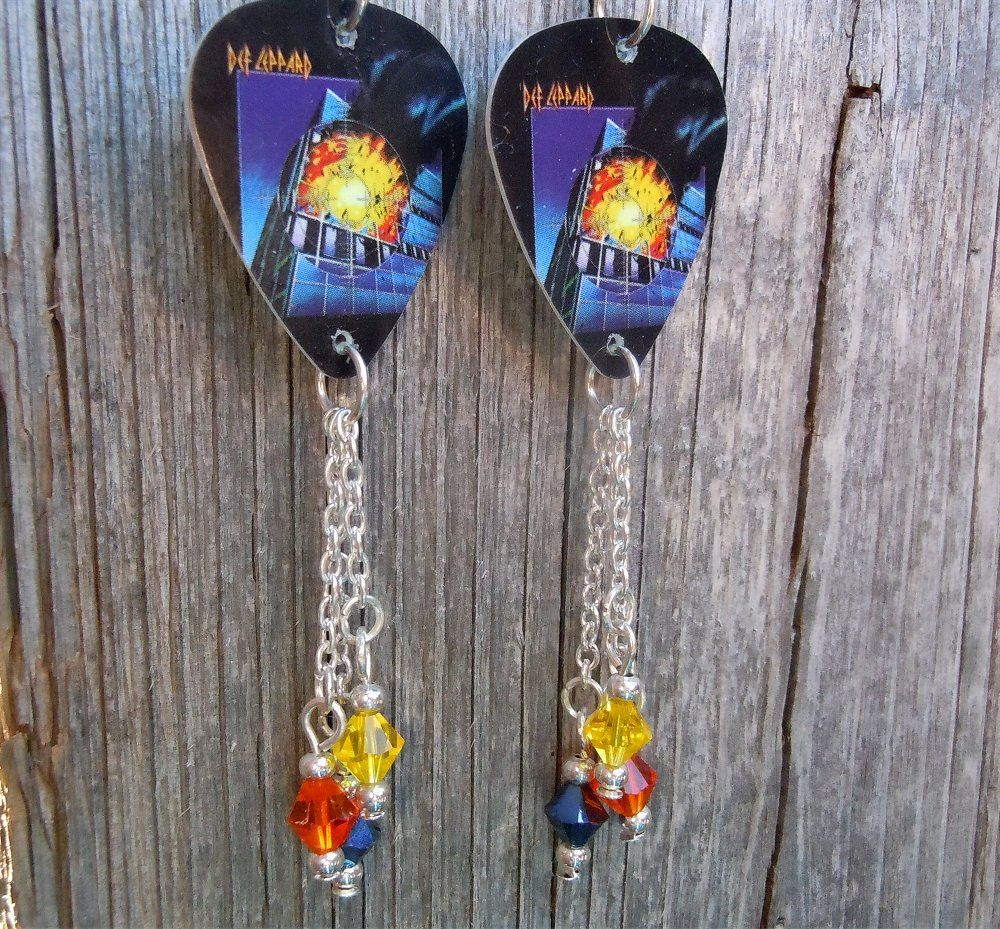 9311f0ae2 Def Leppard Pyromania Guitar Pick Earrings with Crystal Dangles by  ItsYourPick on Etsy | guitar pick earrings | Earrings, Guitar picks, Guitar