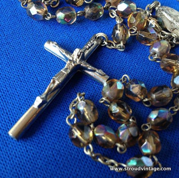 Bohemian Crystal and Unmarked Silver Rosary Crucifix with Medugorje Medallion #rosaryjewelry