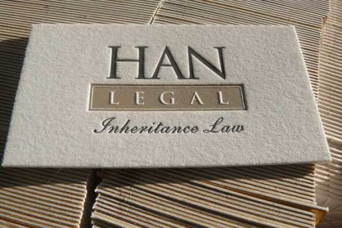 Embossed specialty paper professional lawyer identity han legal chic elegant all business letterpress stationery wardrobe business cards for portland oregon law firm reheart Gallery