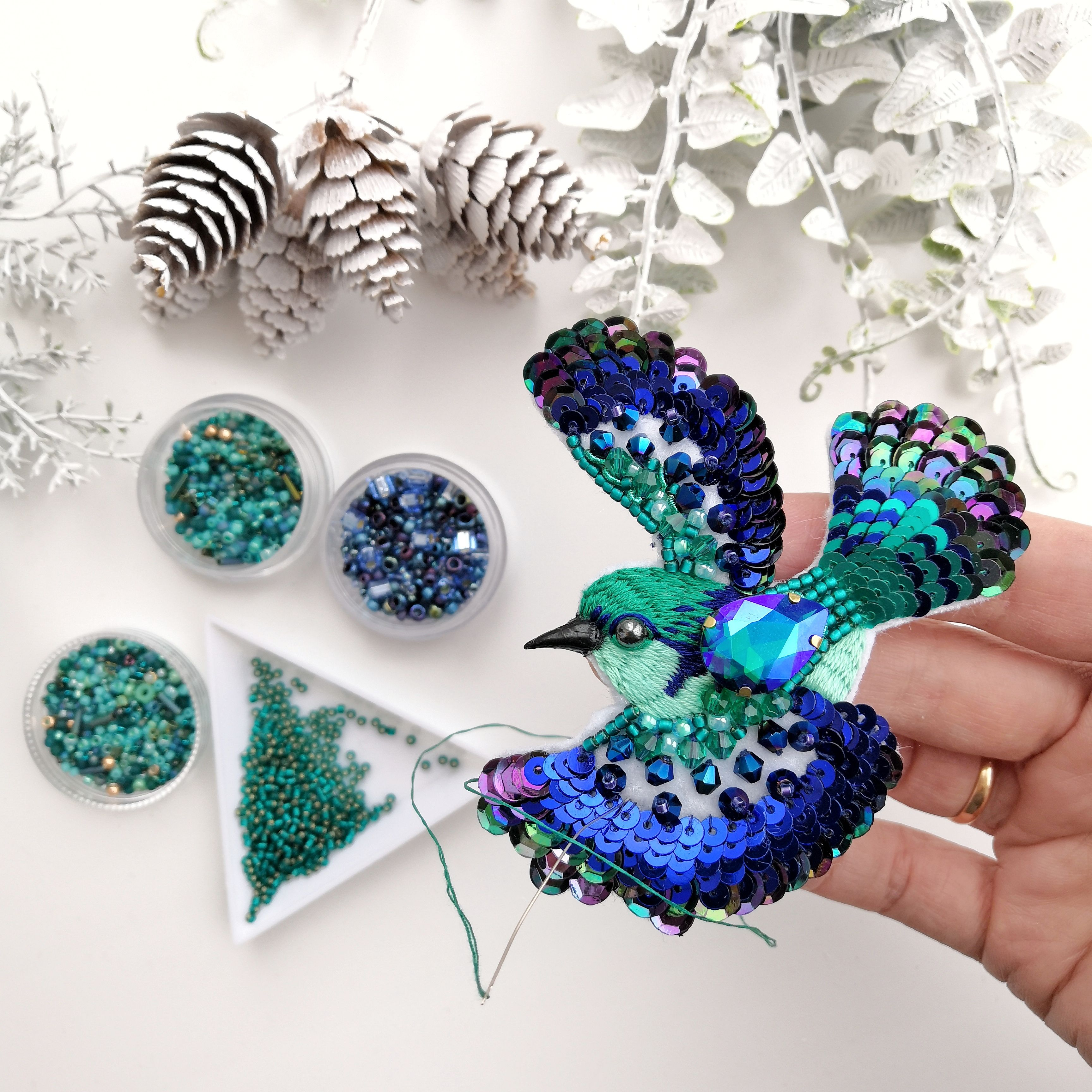 Bird brooch Textile jewelry Textile brooch Embroidered brooch Embroidered jewelry